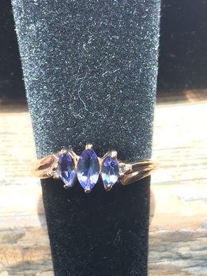 10k Yellow Gold Natural .33ctw Tanzanite & Diamond Band Ring for Sale in Santa Ana, CA