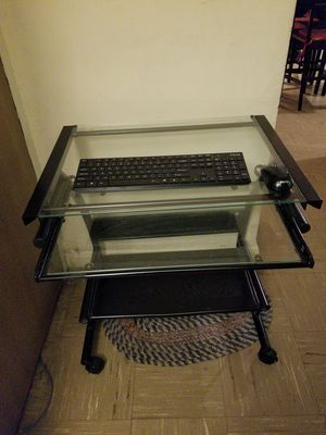 Glass computer desk with wireless ihome keyboard and mouse for Sale in Boston, MA