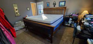 King size bed slatted wood frame for Sale in Woodstock, GA