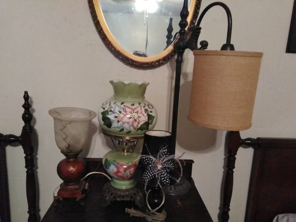 Vintage lamps, rocking chair. All 4 lamps and rocking chair for $45.00