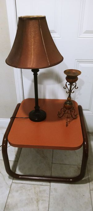 Side table lamp and candle holder all 3 in gold condition for Sale in Houston, TX