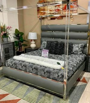 🍒 BEST Offer Encore Faux Leather Gray Queen Platform Canopy Bed 81 for Sale in Jessup, MD