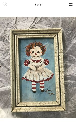 Vintage Raggedy Ann & Andy Framed Painting Picture Wall Decor Nursery Art SIGNED for Sale in Portland, OR