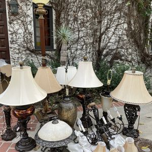 Antique-style LAMP collection, great condition, new shades for Sale in Los Angeles, CA