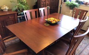 Mission-style Dining Room table, chairs and buffet for Sale in Silver Spring, MD
