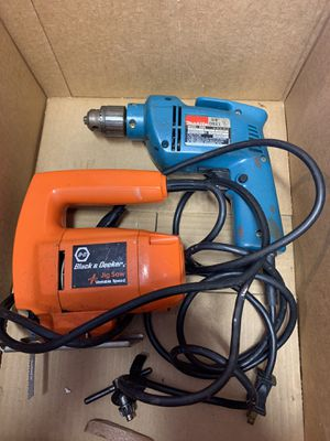 Power tools , corded makita 3/8 power drill & corded black and decker variable speed jig saw for Sale in Columbia, MO