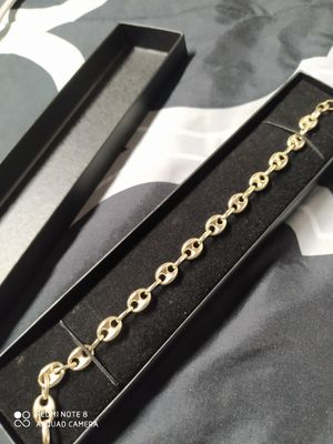 7.5mm Puffed Mariner Anchor Gucci Link Chain Bracelet 10k Yellow Gold for Sale in Denver, CO