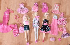 Lot of 3 Barbie Dolls Fully Dressed with Accessories and Extra Clothing for Sale in Elk Grove, CA