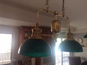 2 Brass and green glass light fixtures. for Sale in Thousand Oaks, CA