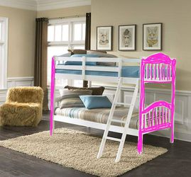 New Storkcraft Long Horn Twin over Twin Bunk Bed, Pink/White. for Sale in Henderson,  NV