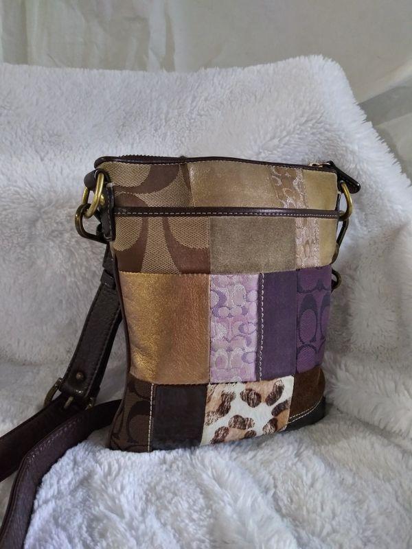 Coach Small Multi-fabric suede Patchwork Crossbody