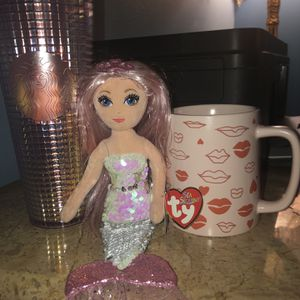 Valentines Day Bundle Set! Starbucks Lips Kiss Limited Edition Mug And Tumbler! Hot Pink Set! Ty Mermaid! for Sale in Corona, CA