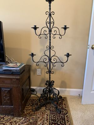 Antique Spanish Candelabra, Wrought Iron, Restoration Hardware style. Mint condition, beautiful. Four feet tall. for Sale in Long Branch, NJ