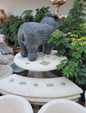 Concrete Mosaic Picnic Table with 3 Benches/ Outdoor Patio Furniture for Sale in Coconut Creek, FL