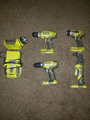 Ryobi (2 drill, 1 impact drill, 1 grinder, flashlight, charger) for Sale in Lafayette, IN