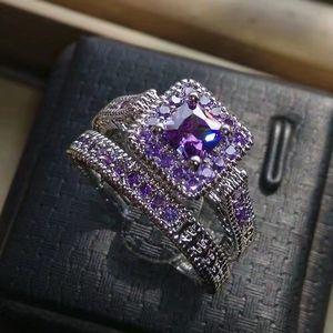 Sterling Silver Amethyst Bridal Set Size 7 for Sale in Pasadena, MD