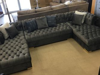 Gray Velvet Double Chaise Sectional ↗️$39 Down Payment 100 Days Same As Cash for Sale in Austin,  TX