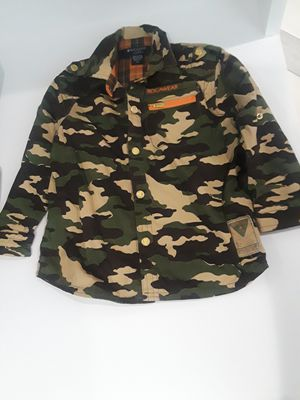 Rocawear Green/Orange Button Up Collared Camo & Plaid Boy's Shirt 3T for Sale in Piscataway, NJ