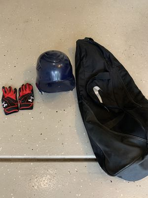 Youth baseball Rawlings Helmet - Under Armour Gloves & Nike Bag for Sale in Westfield, IN