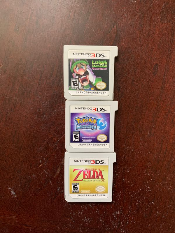 3DS Game Bundle! (Luigi's Mansion: Dark Moon, Pokémon Moon, and Ocarina of Time)