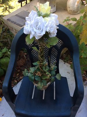 """White Bush Rose and Pot....Artificial Flower....27"""" Tall for Sale in Indianapolis, IN"""