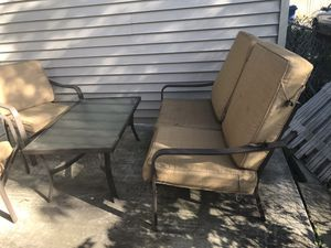 Outdoor sofa, chairs, coffee table and cushions for Sale in Chicago, IL