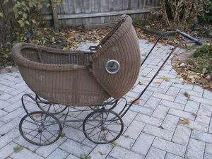 Antique Wicker & Glass Baby Doll Buggy for Sale in Cleveland, OH