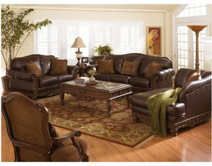 Beautiful leather living room set by Ashley for Sale in Falls Church, VA