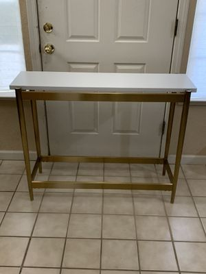 Brand New Modern Console Sofa Table Gold Metal White Wood MoDRN Entry Side for Sale in Elk Grove, CA