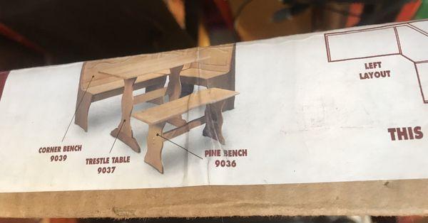 Solid pine breakfast nook table- New in kboxl