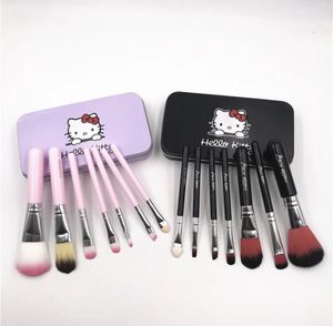 7Pcs Hello Kitty Makeup Brush Set with Iron Mini Box Make up Professional Facial Brushes Black/Pink Maquiagem Women Girls Gifts for Sale in Los Angeles, CA
