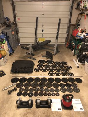 "Adjustable bench, 7 foot bar w spring clips, 1"" weights, adjustable dumbbells, adjustable kettlebell for Sale in Burlington, MA"