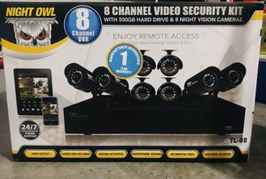 Night owl 8 channel security system 8 night vision cameras for Sale in Port St. Lucie, FL
