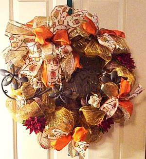 Fall Deco Mesh Owl Wreath for Sale in Inwood, WV
