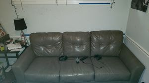 Brown leather couch w/ chair for Sale in Rockville, MD