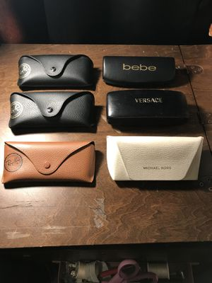 3 Ray Ban sunglass cases 1 Michael Kors 1 Bebe & 1 Versace $8 each or two for 15 pick up only for Sale in Fresno, CA