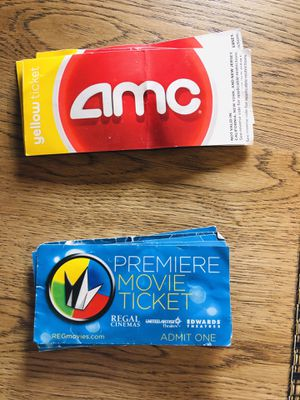 6 AMC tickets + 6 Regal Movie Cinema tickets for Sale in Seattle, WA