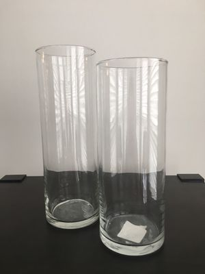 2 pc. cylindrical glass vases for Sale in Alexandria, VA