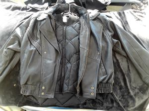 Heavy itallian leather mens xxlarge motorcycle jacket , liner, leather vest xxl with logo wild hogs on the back for Sale in Long Beach, CA