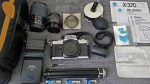 Minolta X-370 35mm film camera bundle w/ 2 lenses, flash, tripod, etc. (original owner) for Sale in Wesley Chapel, FL