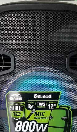 """Brand new. 800 watts Party speaker. 12"""" woofer with bluetooth, LED lights, microphone included for karaoke. Rechargeable. for Sale in Miami,  FL"""