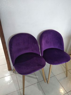 2 NEW Zomba Purple Velvet Metal Style Accent Chairs for Sale in Gardena, CA