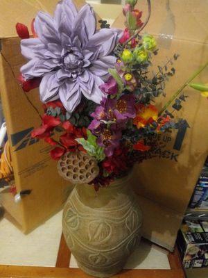 Terra cotta vase with flowers for Sale in Snellville, GA