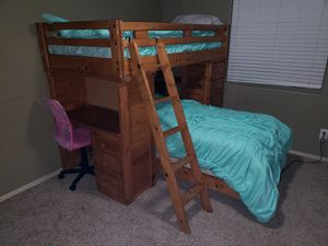 Solid wood bunk beds with desk and drawers for Sale in Mesa, AZ
