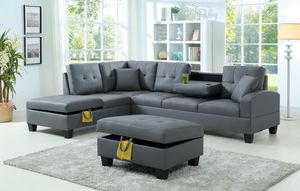 Brand New Grey Faux Leather Sectional Sofa Couch + Storage Ottoman for Sale in Wheaton-Glenmont, MD