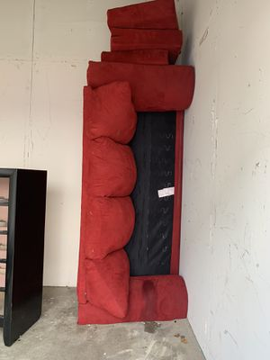 Red sofa ( the spill is soda from moving ) for Sale in Nottingham, MD