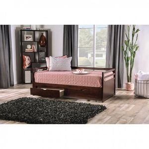 DARK WALNUT FINISH TWIN SIZE DAY BED DOUBLE BED DRAWERS OPEN TO KING SIZE / CAMA SENCILLA A GRANDE for Sale in Downey, CA