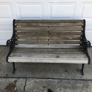 Quality , Thick Wood And Thick Cast Iron Patio Bench for Sale in Fort Worth, TX