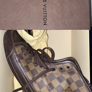 Louis Vuitton Damier Ebene Canvas And Brown Leather Lace Up High Top Sneakers Size 8 for Sale in Silver Spring, MD