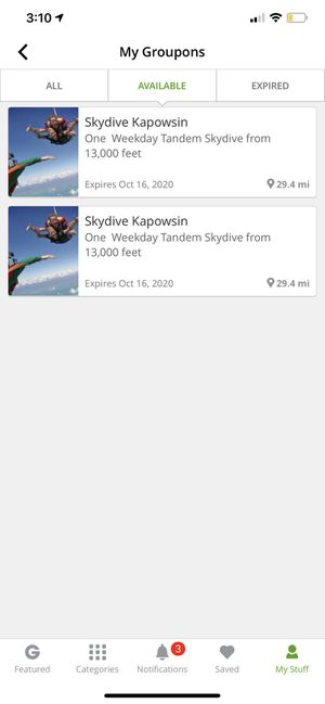 2 skydiving vouchers for Sale in Tacoma, WA